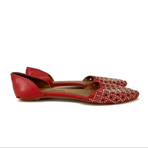Jeffrey Campbell | red silver studded flats size 9